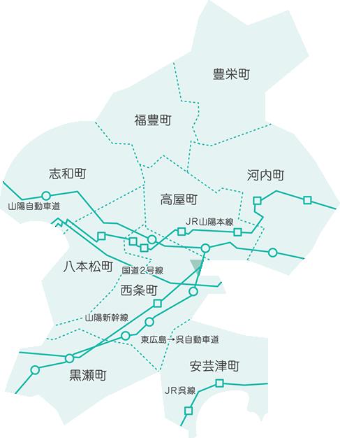 画像:東広島市の地図